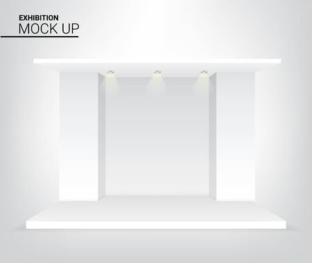 3D Graphic Mock up Realistic Stage Podium for Advertising, Concert or Presentation with Spotlight background illustration vector. Event and Exhibition Concept Design