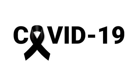 Corona Virus Mourning symbol with Black Respect ribbon on white background Banner. RIP Funeral card Vector Illustration. 일러스트