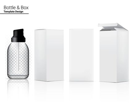 Glossy Transparent Pump Bottle Mock up Realistic Cosmetic and 3 Dimensional Box for Whitening Skincare and Aging anti-wrinkle merchandise on White Background Illustration. Health Care and Medical.