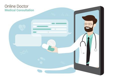 smartphone screen on chat in messenger with Doctor and an online consultation. Vector flat illustration. Healthcare and E-Medical Concept Design for Banner, Poster and Advertising Background.