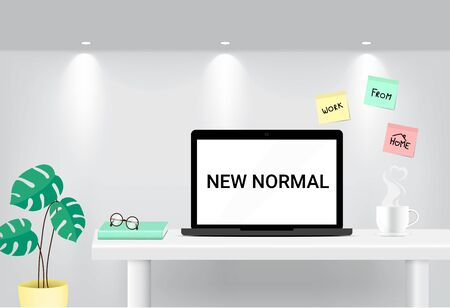 Working at home concept illustration. New Normal freelancers online laptops and computers for quarantine. Protection from Virus. Vector Background Banner.