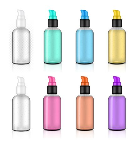 Glossy Pump Transparent Bottle Mock up Realistic with hygienic Hand sanitizer Alcohol Gel Cosmetic merchandise on White Background Illustration. Health Care and Medical concept design.