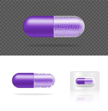 Mock up Realistic Transparent Pill Medicine Capsule Panel on White Background Vector Illustration. Tablets Medical and Health Concept. Çizim