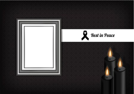 Mock up Mourning symbol with Black Respect ribbon ,Frame and Candle on Texture background Banner. Rest in Peace Funeral card Vector Illustration.