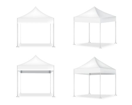 3D Mock up Realistic Tent Display POP Booth for Sale Marketing Promotion Exhibition Background Illustration Ilustracje wektorowe
