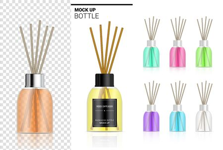 Mock up Glossy Transparent Reed diffuser Bottle with Perfume oil Product Branding Advertising with Pastel Colour. Relax merchandise Background Illustration.