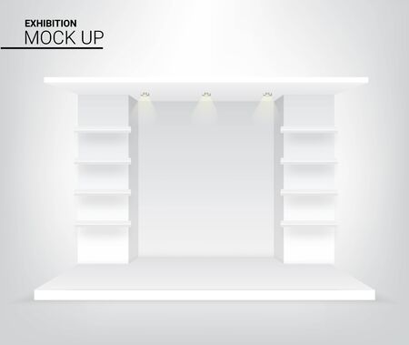 3D Graphic Mock up Realistic Stage Podium for Advertising, Concert or Presentation background illustration vector. Event and Exhibition Concept Design Vettoriali