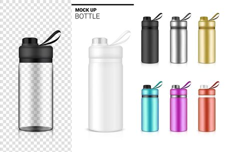 Bottle 3D Mock up Realistic transparent Plastic Shaker in Vector for Water and Drink. Bicycle and Sport Concept Design.
