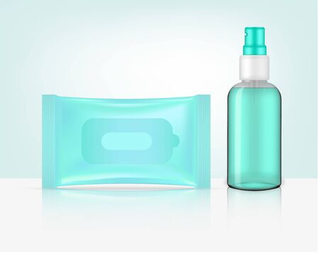 3D mock up realistic Spray Transparent Bottle and wet wipe Sachet Bag packaging product. household and healthcare concept design.