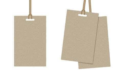 mock up realistic Paper Tag and Brown Rope For Label, Coupon or information Card. Business and Object concept design.