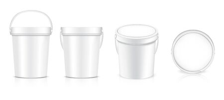 3D mock up realistic Bucket Bottle packaging product. Food and Drink merchandise concept design.