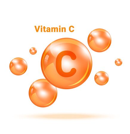 Vitamin C Graphic Medicine Bubble on white background Illuestration. Health care and Medical Concept Design.