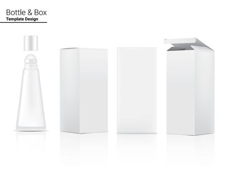 Tube Mock up Realistic Cosmetic and Box for Skincare Product on White Background Illustration. Health Care and Medical Concept Design. Vettoriali