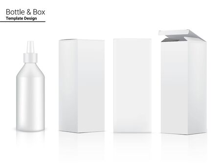 Glossy Bottle Mock up Realistic Cosmetic and 3 Dimensional Box for Skincare and Aging anti-wrinkle or  Food merchandise on White Background Illustration. Health Care and Medical.
