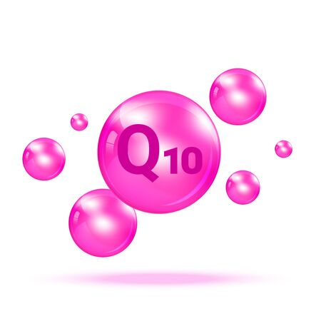 Vitamin Q10  Graphic Medicine Bubble on white background Illustration. Health care and Medical Concept Design. Vettoriali