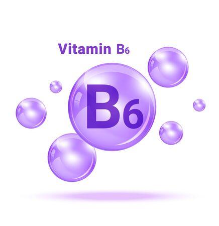 Vitamin B6  Graphic Medicine Bubble on white background Illustration. Health care and Medical Concept Design. Vettoriali