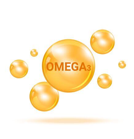 Vitamin Omega3  Graphic Medicine Bubble on white background Illustration. Health care and Medical Concept Design.