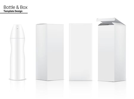 Mock up Realistic Spray Bottle for Perfume Packaging Product and Box Container on White background, Household and Medical Template Design.