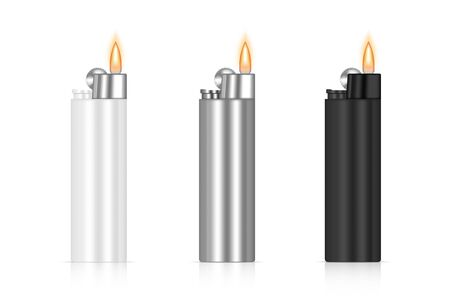 3D realistic Mock up Lighter Flame Packaging. Fire merchandise branding. Object template on white background.