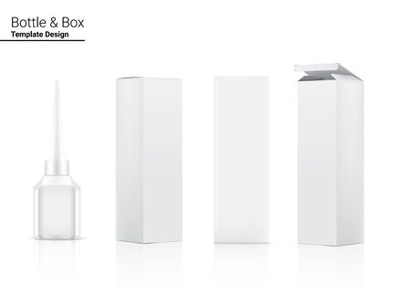 3D Mock up Realistic Bottle for Eyeliner Cosmetic product  packaging and Box Container on white background vector illustration. Health care and Make up Object.