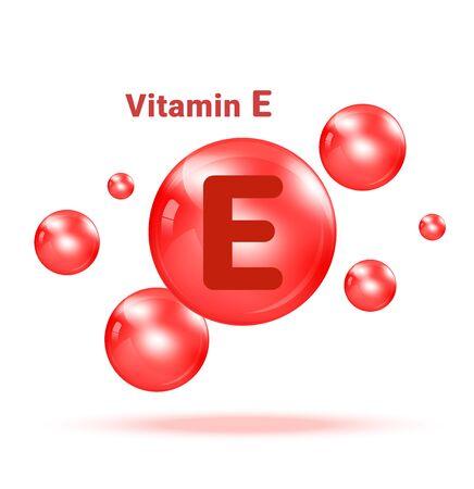 Vitamin E  Graphic Medicine Bubble on white background Illustration. Health care and Medical Concept Design.