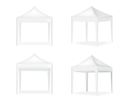 3D Mock up Realistic Tent Display POP Booth for Sale Marketing Promotion Exhibition Background Illustration Vettoriali