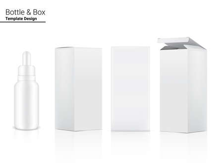 Dropper Bottle Mock up Realistic Cosmetic and 3 Box Side for Skincare Essential Merchandise or medicine on White Background Illustration. Health Care, Medical and Science Concept Design.