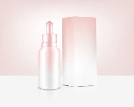 Dropper Bottle Mock up Realistic Rose Gold Perfume oil Cosmetic, and Box for Skincare Product Background Illustration. Health Care and Medical Concept Design.