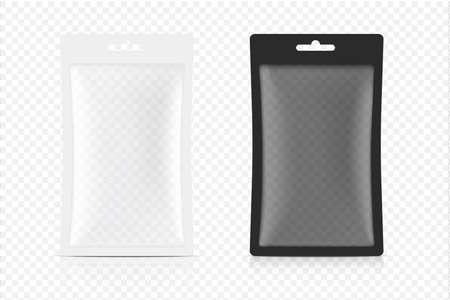 3D Mock up Transparent sachet bag isolated on white background. Vector illustration. Food, beverage, Healthcare and Medical merchandise Packaging concept design.