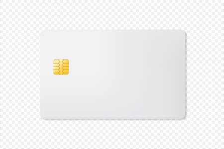 3D Mock up Blank Credit Card with Chip on transparent Background. E-commerce banking for shopping template concept design. Vettoriali