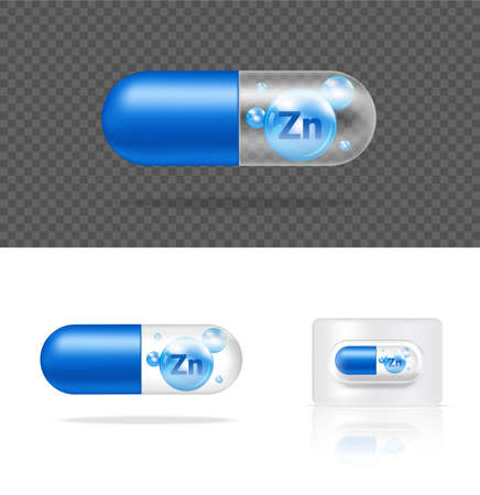 Mock up Realistic Transparent Pill Vitamin Zinc Medicine Capsule Panel on White Background Vector Illustration. Tablets Medical and Healthcare Concept.