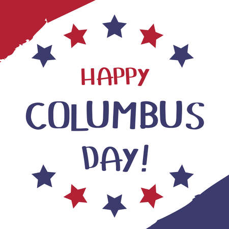 Happy Columbus Day Banner. United States Flag Abstract graphic Background.