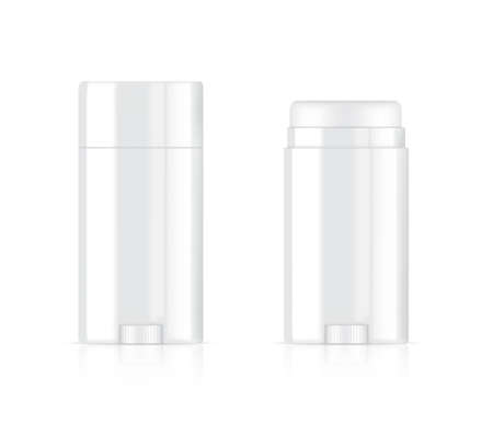 3D Deodorant Bottle Mock up Realistic Cosmetic for Skincare Product on White Background Illustration. Health Care and Medical Concept Design. Vettoriali
