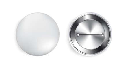 3D Button Pin Realistic souvenir Mock up on white background. Object Template Concept Design. Illusztráció