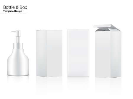 Glossy Pump Bottle Mock up Realistic Cosmetic and 3 Dimensional Box for Whitening Skincare and Aging anti-wrinkle merchandise on White Background Illustration. Health Care and Medical. Vettoriali