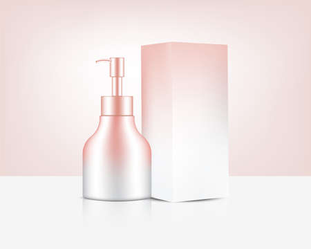 Pump Bottle Mock up Realistic Rose Gold Perfume Soap Cosmetic, and Box for Skincare Product Background Illustration. Health Care and Medical Concept Design. Vettoriali