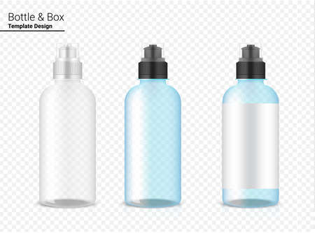 Bottle 3D Mock up Realistic transparent Plastic Shaker Vector for Water and Drink. Bicycle and Sport Concept Design. Vettoriali
