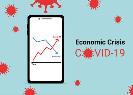 Economic Crisis Corona Virus Covid-19 on Mobile Application  Background Illustration. Business and investment Concept design.