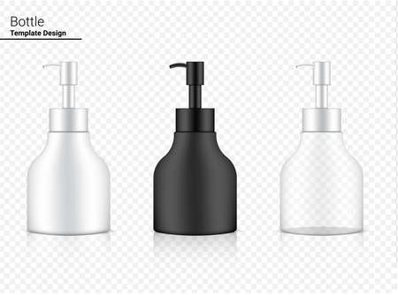 Glossy Pump Bottle Mock up Transparent, White and Black Realistic Cosmetic for Whitening Skincare and Aging anti-wrinkle merchandise on Background Illustration. Health Care and Medical. Vettoriali