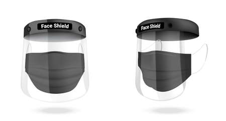 Surgical face shield mask and Virus Protection isolated on white background. Safety Breathing,  Health Care and Medical Concept Design. Vettoriali
