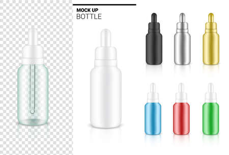 Transparent Dropper Bottle Mock up Realistic Cosmetic for Skincare Essential Merchandise or medicine on White Background Illustration. Health Care, Medical and Science Concept Design. Vettoriali