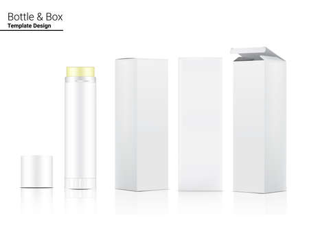 Glossy Lipstick Tube or Foundation makeup Mock up Realistic Cosmetic and 3 Dimensional Box for  Skincare merchandise on White Background Illustration. Healthcare and Medical.
