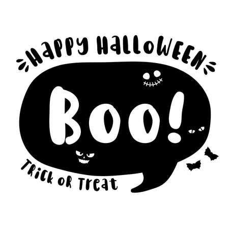 Boo - Halloween hand drawn lettering quote on t-shirt design, greeting card or poster design Background Vector Illustration.
