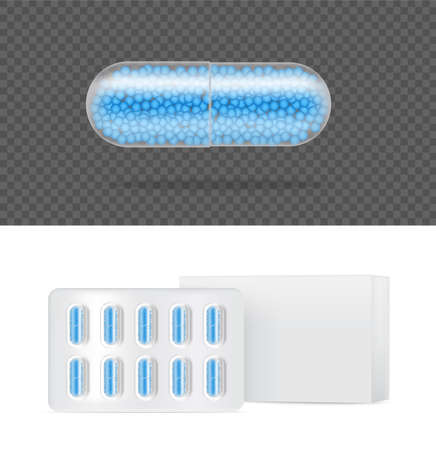 Mock up Realistic Transparent Pill Medicine Capsule Panel on White Background Vector Illustration. Tablets Medical and Health Concept. Illusztráció