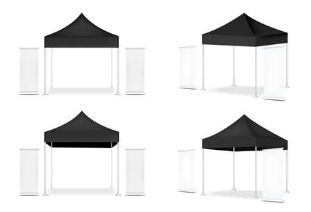 3D Mock up Realistic Tent Display POP Booth and Roll up. Banner  for Sale Marketing Promotion Exhibition Background Illustration