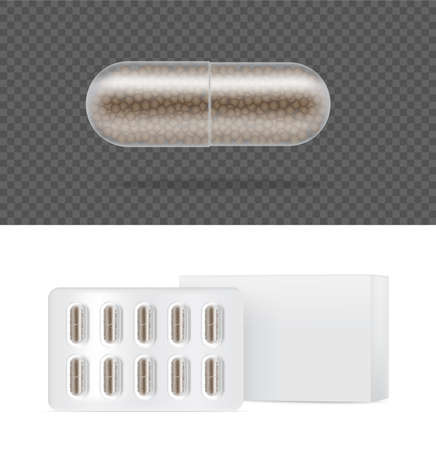 Mock up Realistic Transparent Pill Medicine Capsule Panel with box on White Background Vector Illustration. Tablets Medical and Health Concept.
