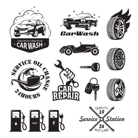 Set of icons relating to service station car oil change, car wash and polish the car, repair, change of tires, refueling of petrol, gas and electricity