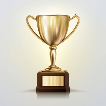 3d realistic vector golden cup isolated on white background. Championship trophy. Sports tournament award.
