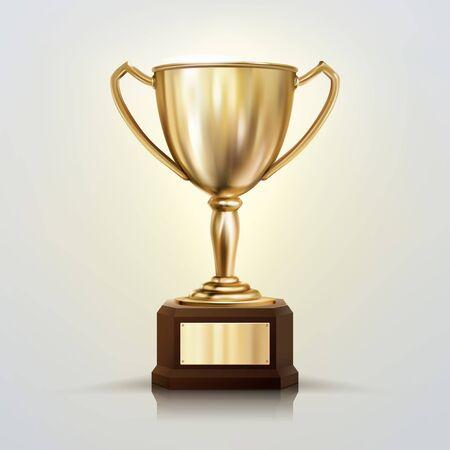 Coupe d'or vecteur réaliste 3D isolé sur fond blanc. Trophée du championnat. Prix du tournoi sportif.