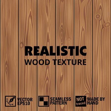 Realistic vector wooden texture. Editable seamless background Vecteurs